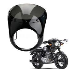7'' Headlight Retro Cafe Racer Handlebar Fairing Windshield For Harley Gloss Blk