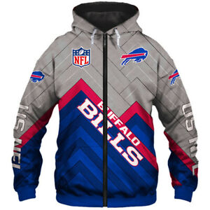 Buffalo Bills Men's Hoodie Full Zip Hooded Sweatshirt Casual Jacket Coat gift