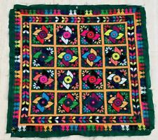 """26"""" x 25"""" Vintage Rabari Throw Embroidery Ethnic Tapestry Tribal Wall Hanging"""