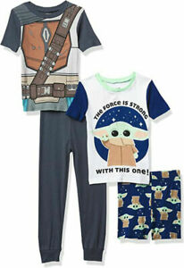 Star Wars Boys Mandalorian 4pc Pajama Set Size 4 6 8 10