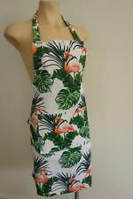 Handmade Flamingos & Tropical Leaves on White 100% Cotton Women's Apron