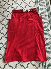 Vintage Gucci Red Midi Skirt Cotton Side Pockets Rope Belt Made in Italy Sz 46