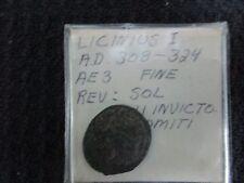 EMPEROR LICINIUS I REV: SOL SOLI INVICTO COMITI 308-324 A.D. ANCIENT ROMAN COIN
