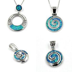 Anhänger Kette Silberkette Halskette synth.Opal blau KREISEL 925 Sterling Silber