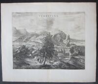1663 TERRACINA Joan Blaeu acquaforte veduta originale Theatrum Civitatum Latina