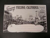 Souvenir Folder Fresno California CA 1940s Downtown Views Unused B&W Cars Views