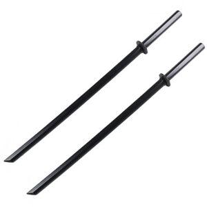 "Set of 2 40"" Black Wooden Samurai Sword Bokken Practice Training Katana No Wrap"
