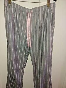 Victoria Secret Pajama Pant Lightweight L pocket women's cotton gray striped NEW