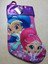 """Nickelodeon Shimmer and Shine Purple Sequin Christmas Stocking 16"""" New"""
