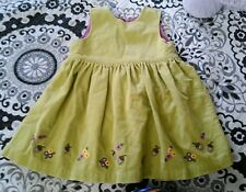 Gap Baby Girls 2T 24 months Corduroy Jumper Embroidered Fall Dress Olive EUC