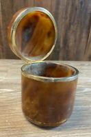 Vintage Stone Tobacco Jar Hinged Lid Caramel Color with Metal Trim Humidor