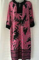 Karin Stevens Women's Size 10 Pink & Black 3/4 Sleeve Floral Long Dress