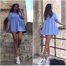 Zara Azul Popelín Mono Mono Corto Vestido Talla L-Grande-UK 12-Bnwt