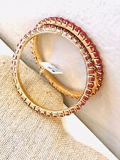 Indian Bollywood Kada Bangle Ethnic Gold Plated Pink Stones NWT Pair