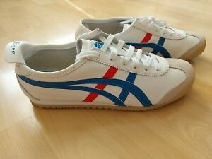 Onitsuka Tiger Asics Mexico 66 Trainers White Blue Red Leather UK 6