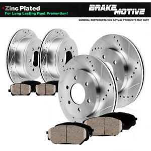 Front+Rear Drill Brake Rotors + Ceramic Pads For 2006 - 2008 2009 2010 Hummer H3