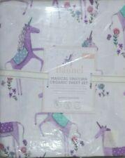 Neuf Pottery Barn Enfants Flanelle Magique Licorne Bio Drap Set Violet Double