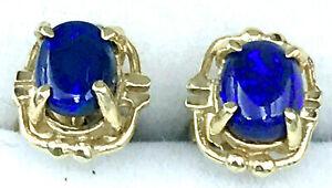 18k Solid Black Opal EARRINGS_750 yellow gold_Australian Natural Opal