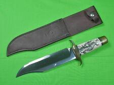 US Custom Hand Made MIKE LEACH Large Bowie Knife 1976 Scrimshaw JOE RUNDELL