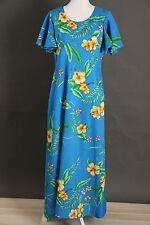 Vtg Sidan Hawaii Dress Sz 16 Blue Yellow Pink Floral Ladies Womens Empire Maxi
