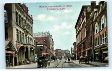 Main Street St Fitchburg Mass Massachusetts Stores Buggys Vintage Postcard D04