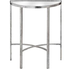 Attractive CONTEMPORARY SILVER MIRRORED GLASS HALF MOON HALL CONSOLE TABLE (H18771)