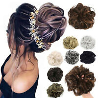 Natural Messy Bun Scrunchie Thick HairPiece Curly Chignon Updo Hair Extension