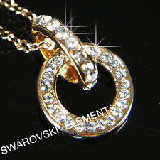 Bridal Prom 18K Rose Gold Filled Necklace use Clear Stone Valentine Gift p742G