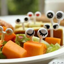 10pcs/pack Cute Eyes Fruit Fork Plastic Kids Bento Lunch Snack Cake Dessert Food