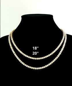 14K Gold Plated Iced Pharaoh Necklace Hip Hop Rapper Tennis Chain Set, Bracelet