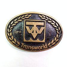 Transworld Brass Belt Buckle Black Enamel Dyna Buckle Provo Utah Vintage