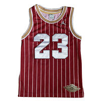 Nike Air Jordan #23 Burgundy Pin Stripe Basketball Jersey Youth S Women 8-10