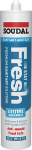Soudal Stay Flash Sanitary Acetoxy Bathroom & kitchen Sealant ICE WHITE 290ml