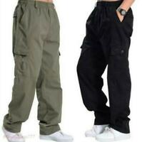 Sz XL-6XL Men's Cool Cotton Long Loose Pants Trousers Casual Cargo Elastic Cargo