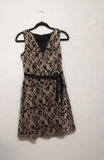 Jessica Simpson A-Line Holiday Dress in Golden Thread Lace Size 4