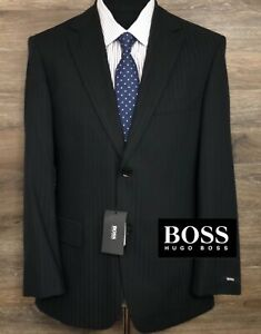 NWT BOSS Hugo Boss Men's Black PinStripe Two-Button Blazer Sport Coat Jacket 38S