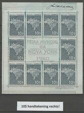 Brazil 1940 Block Sheet Feira Mundial de New York 10x$10 MNH Signature right