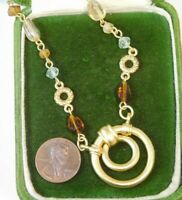 "Connie McCormack Matte Gold Wired Glass Bead 20"" Eyeglass Holder Necklace 8j 17"