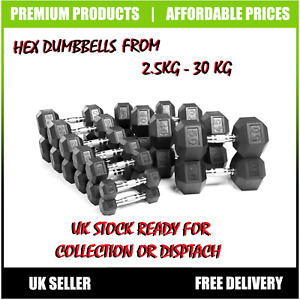 Hex Dumbbells Rubber Encased Ergo Weights Sets Hexagonal Gym Fitness 2.5 TO 50KG