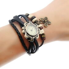 Retro Ladies Braided Leather Strap Beads Butterfly Bracelet Quartz Wrist Watch