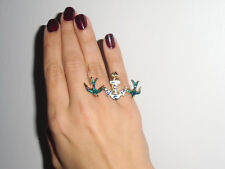 Ring double two fingers golden swallows anchor marine hand painted original