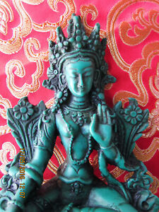 """DETAILED TIBETAN BUDDHIST GREEN TARA RESIN STATUE 6"""" MOTHER OF BUDDHAS NEPAL"""