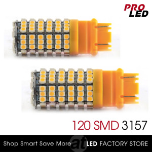 2X Amber Yellow SMD 120 LED 3157 3156 Turn Signal Blinker Corner Light bulbs