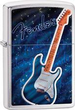 Zippo 2016 Catalog NEW Fender Guitar Brushed Chrome Windproof Lighter 29128