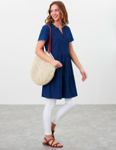 JOULES Cosima Mid Blue Tunic Tiered Top Sz 16 18 RRP£64.95 Free UKP&P