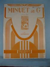 Minuet In G Sheet Music Vintage 1924 Ludwig Van Beethoven Piano Solo Morris (O)