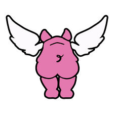 Flying Pig Decal 3.5 Inch Pink Black & White Pig Sticker