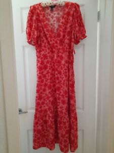Ladies New Red Floral Maxi Dress Puff Sleeves Newlook Size 14