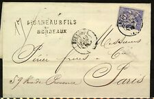 France 1876 cover 25c blue peace and commerce issue Bordeaux to Paris with arriv