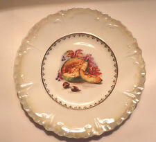 1910s Ceramic Collector PLATE With Hazel Nuts & Melon Scallop Edges